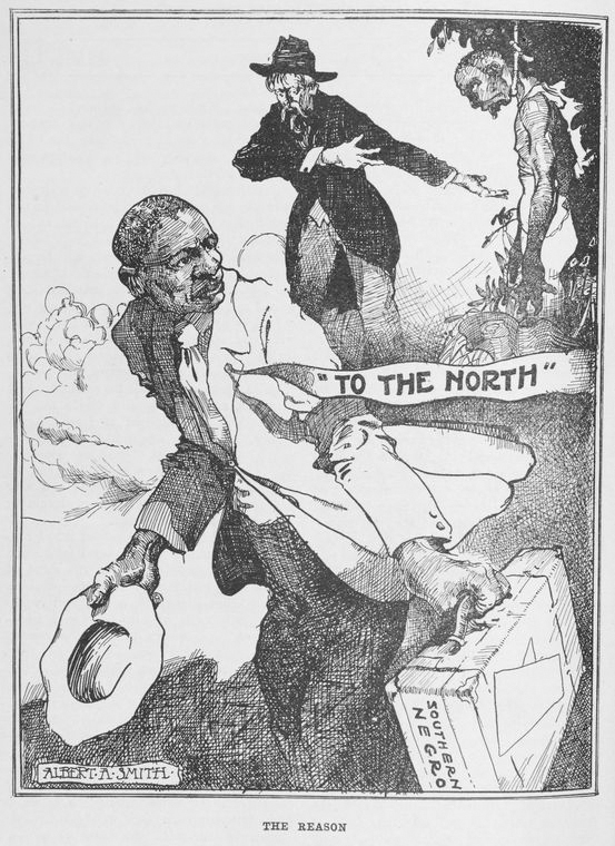 """The Reason"" 1920. The cartoon by Albert A. Smith depicts a southern black man fleeing the South out of fear."