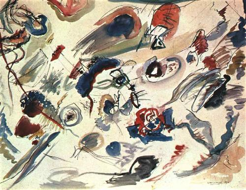 Kandinsky's first watercolor abstract painting, done in 1910 (source)