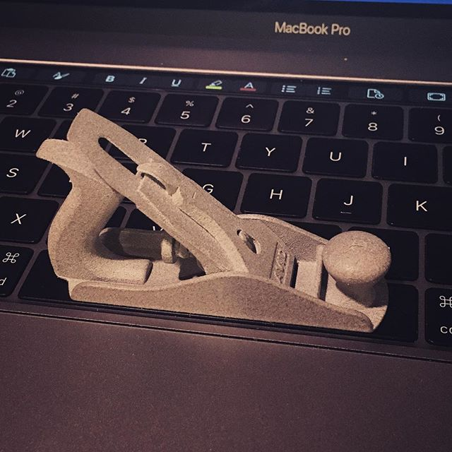 Reposting one of my favorite projects of all time. This one taught me a lot about Pro E and modeling for 3D printing. I took this with me to Handworks 2015 in Amana, Iowa.  I have since moved on from Pro E to SolidThinking Evolve and now to Fusion360. Always enjoy picking up new tools and techniques.  Stanley No 4. Modeled by me.  Printed by Shapeways.  #digitalfabrication  #shapeways  #fusion360  #No4