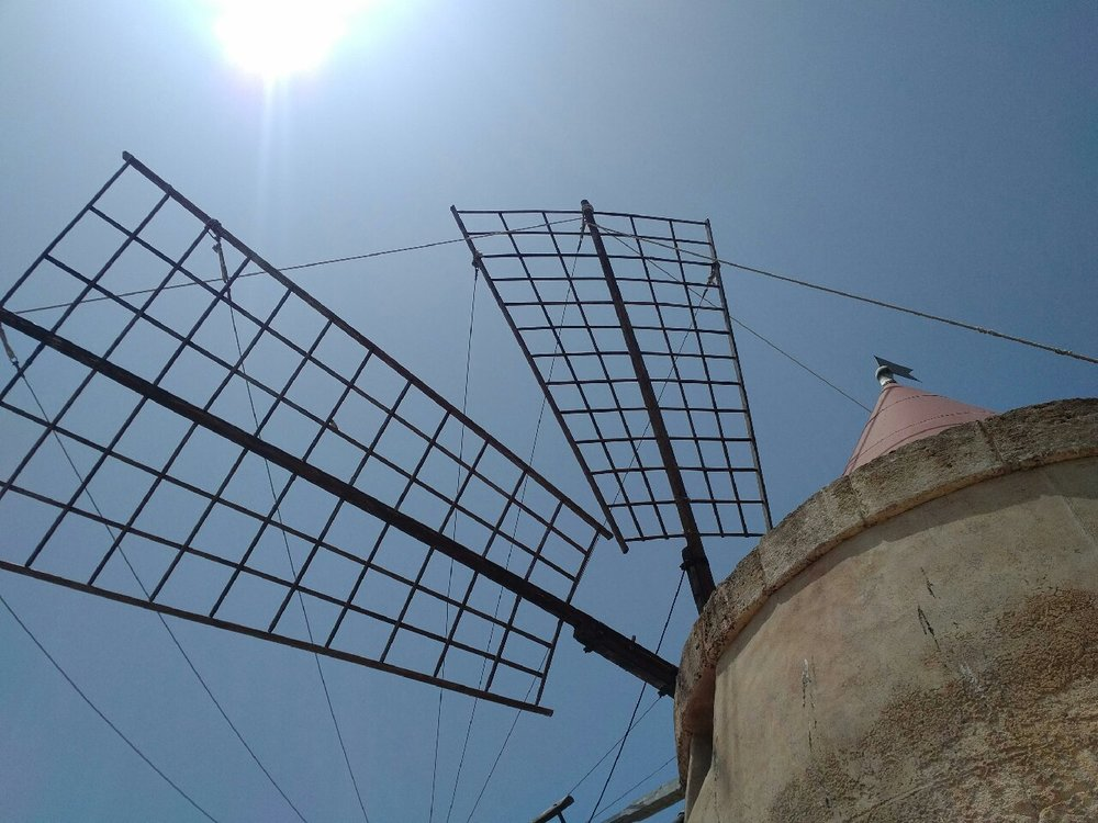 Windmill at saline, Sea salt Marsala Sicily