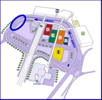 Terminal 3 - Rome Fiumicino Airport. Terminal 3 Arrival: the blue circle is where we meet.