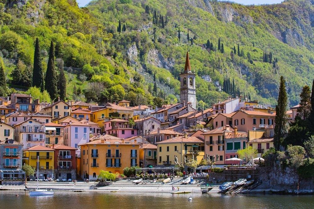 Italian village of Varenna and mountains