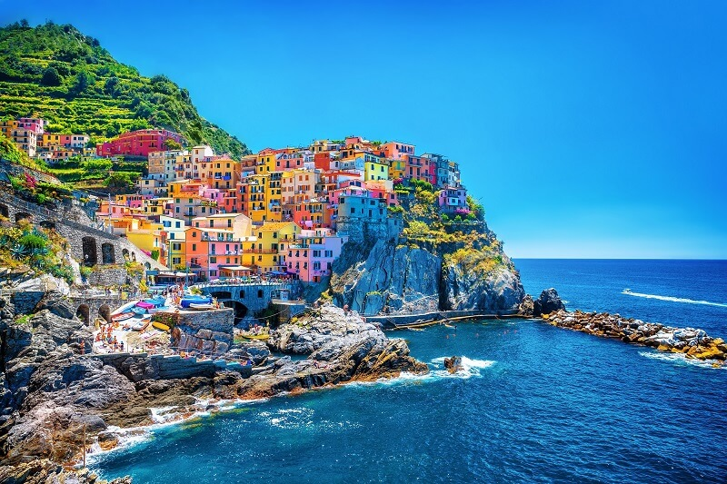 Beautiful colorful cityscape of cinque terre. Italy.