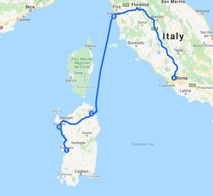 Map route of tour