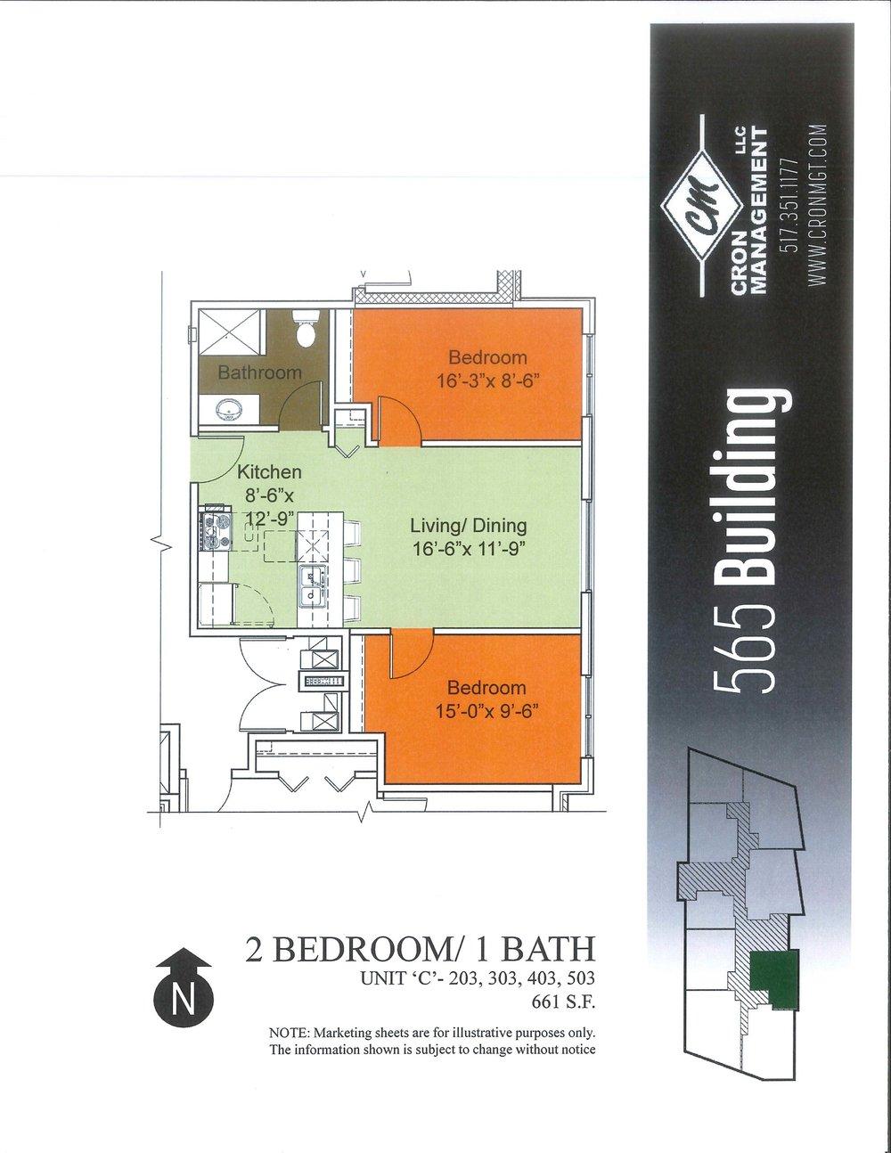 203-503- Two Bedroom, One Bath