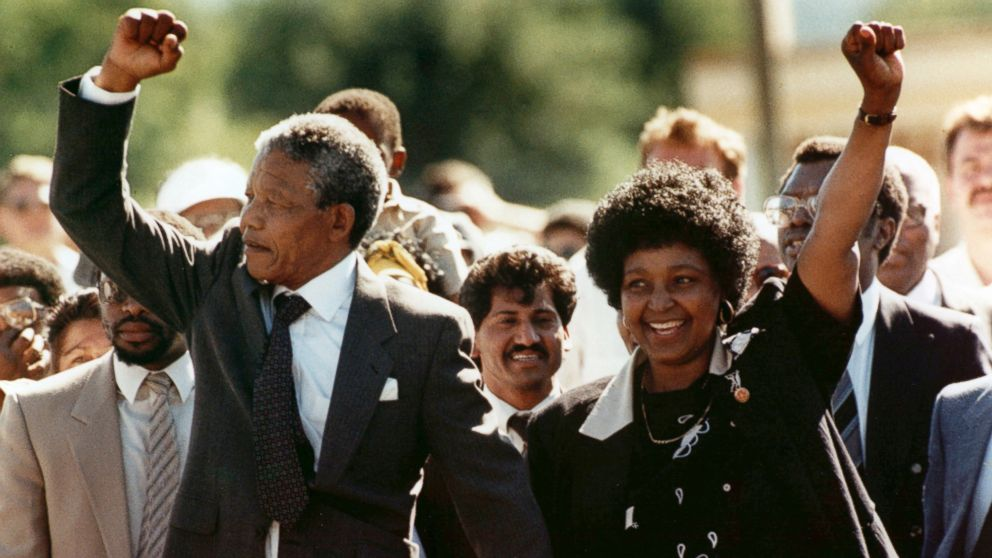 Winnie and Nelson on his release in 1990