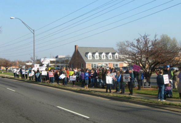 A 2012 pro-life protest outside of the Amethyst Health Center for Women in Manassas, Virginia.