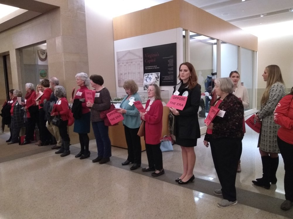 We line the halls of the Capitol with signs urging lawmakers to oppose the ERA.