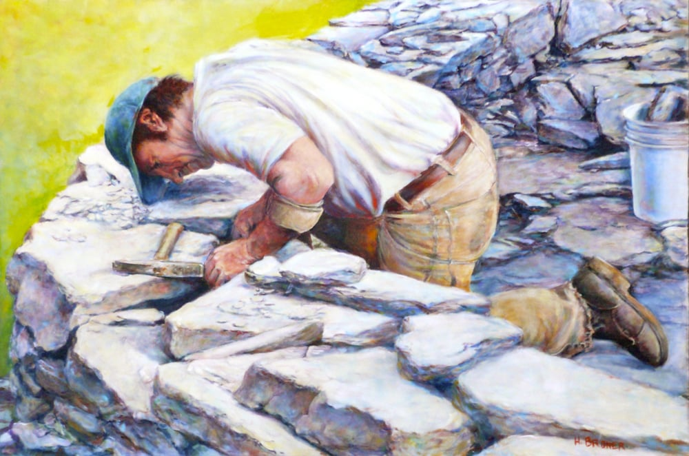 "Stone Wall, 36""x24"""