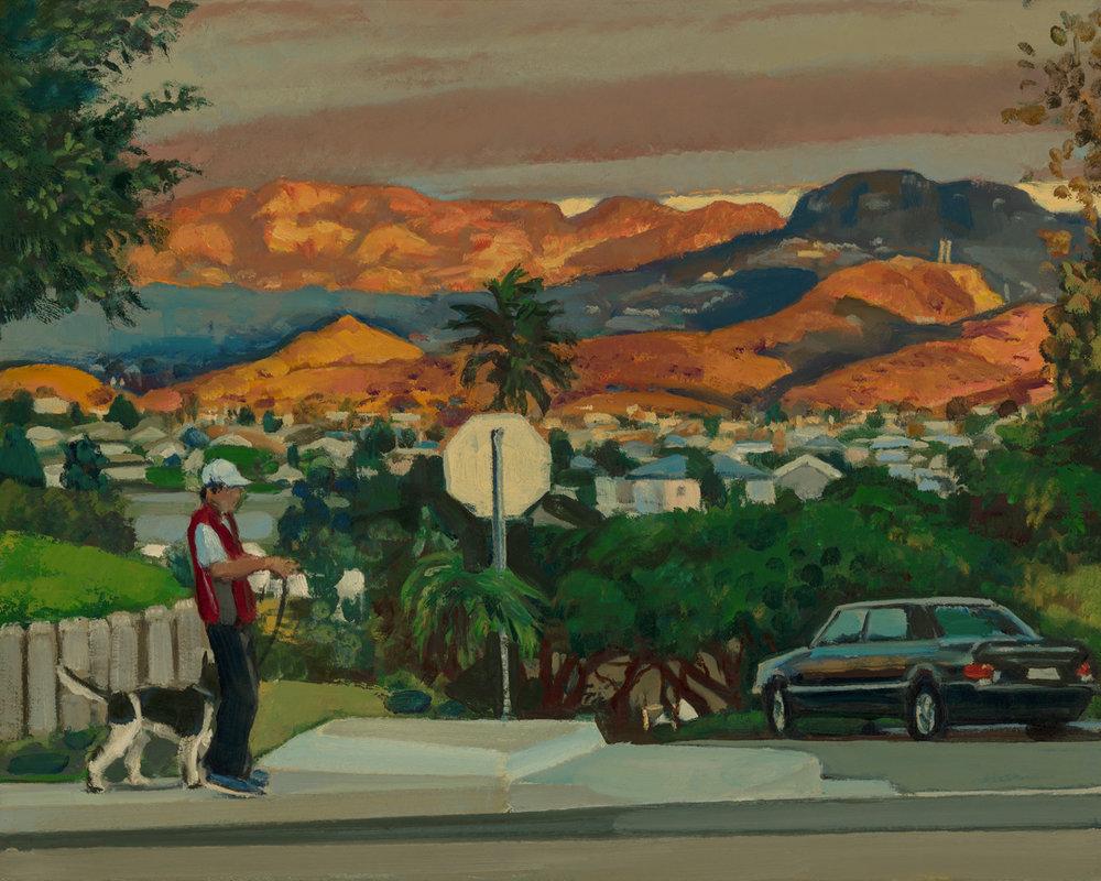 Man walking Dog at Sunset
