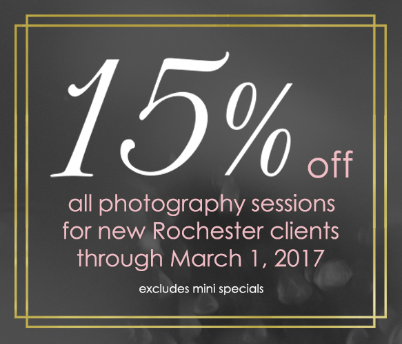 Photography Session Discount 15% Rochester NY