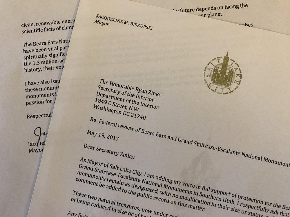 Read Mayor Jackie Biskupski's letter to Sec. Ryan Zinke