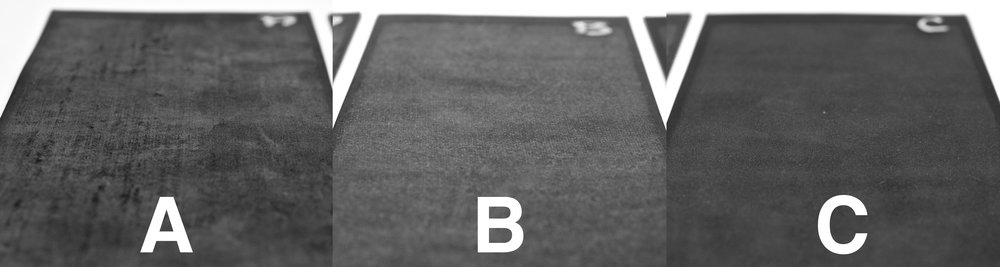 traditional calendered EPDM (A, B) alongside an extruded sheet