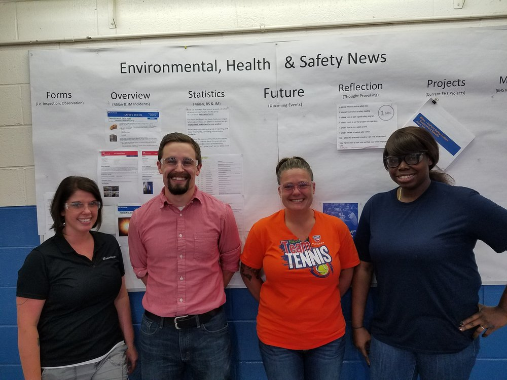 From left to right: Angela Sprowls, Plant Manager; Corey Povenmire, Process Engineer; Jamie Brown, Production Operator and Rona Brown, Production Operator