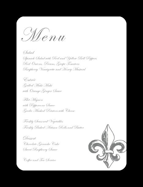 evelyn menu cards