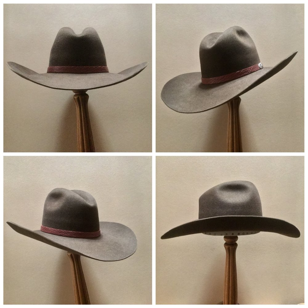 Material: 100% Beaver Color: Dark Brown Brim Set: Vogue Trim: Leather with sterling silver concha