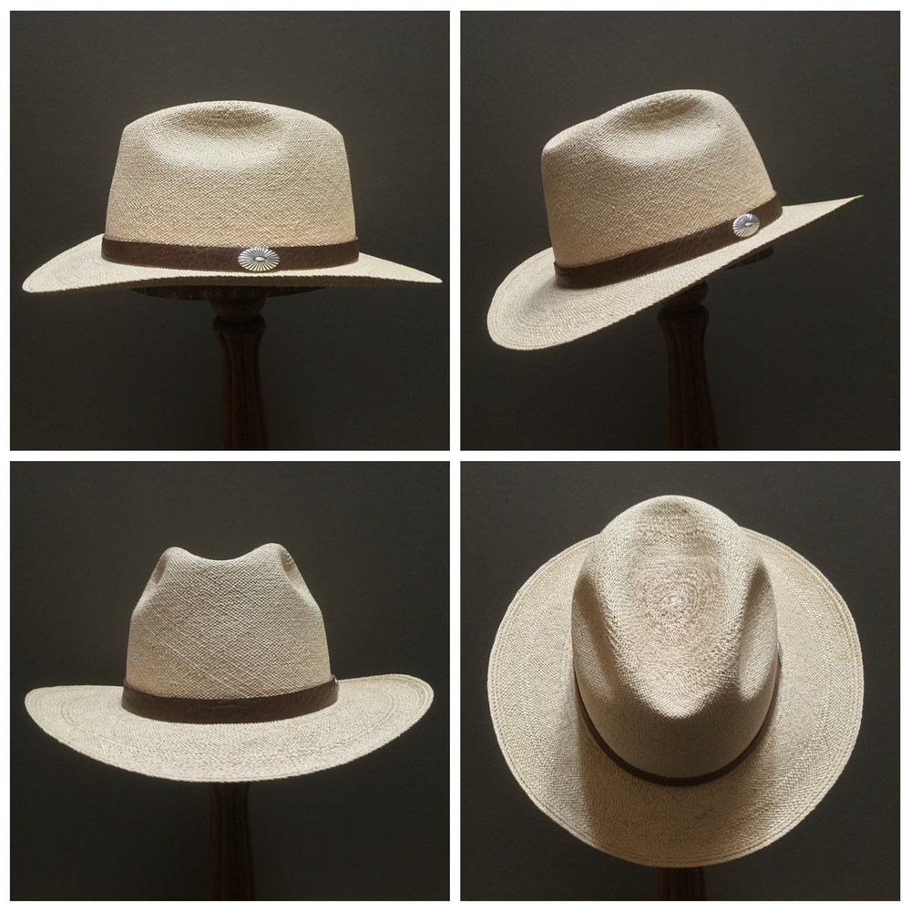 Weave: Torcido Grade: 8 Brim Set: San Ann Trim: Leather with Sterling Silver Concha