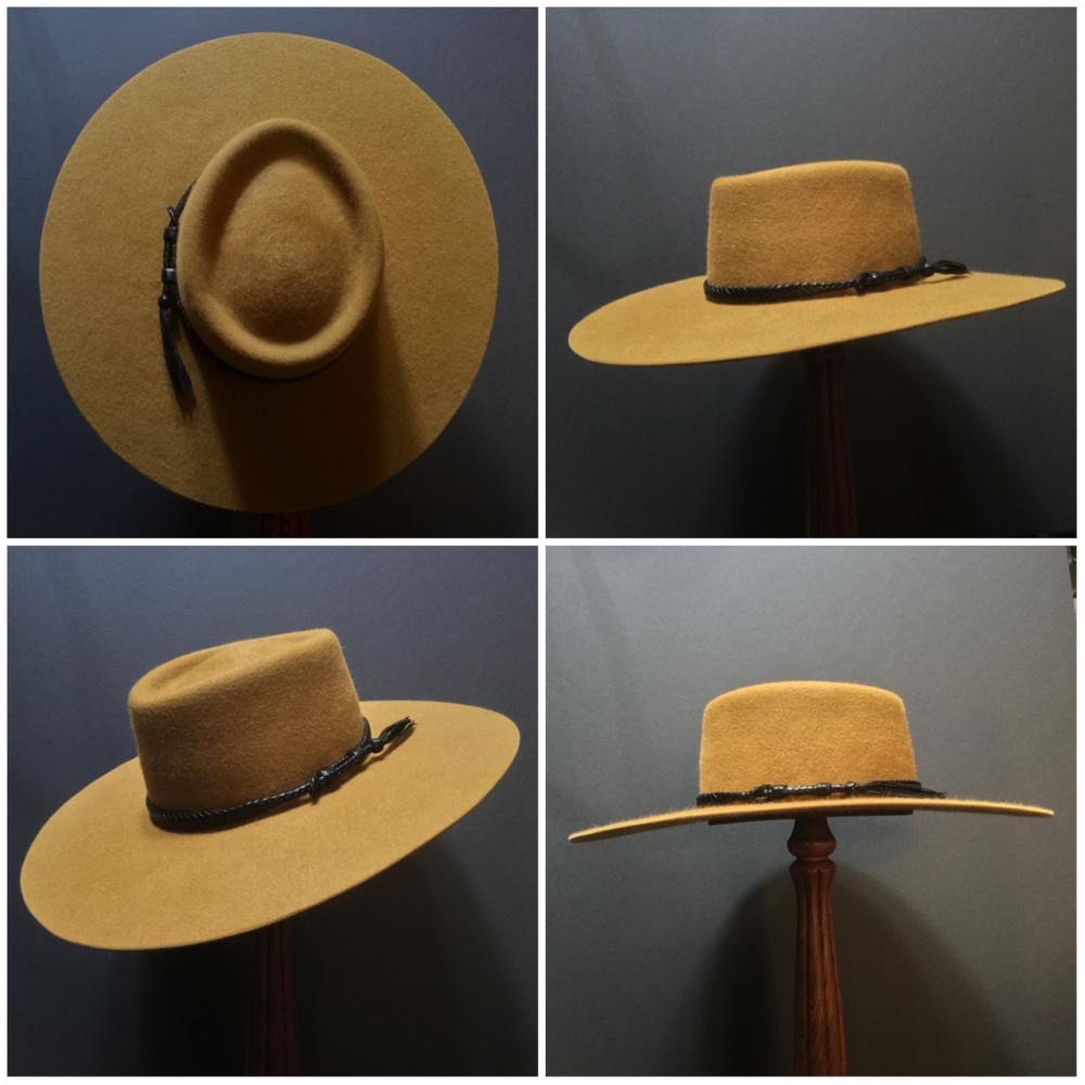 Material: 100% Rabbit Color: Gold Brim Set: San Ann Contour Brim Trim: Braided Leather