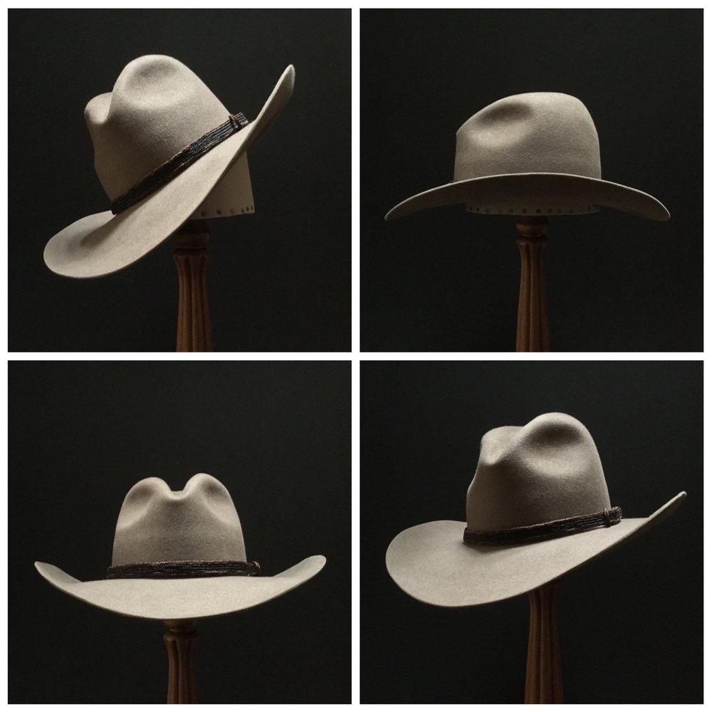 Material: 100% Beaver Color: Natural Brim Set: Westin Trim: Braided Horsehair