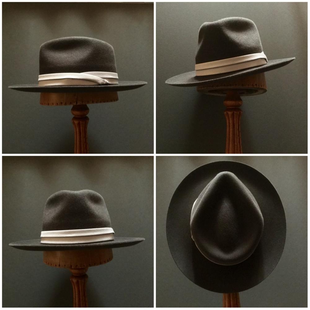 Material: 100% Rabbit Color: Dark Brown Brim Set: Round Up Trim: Puggaree