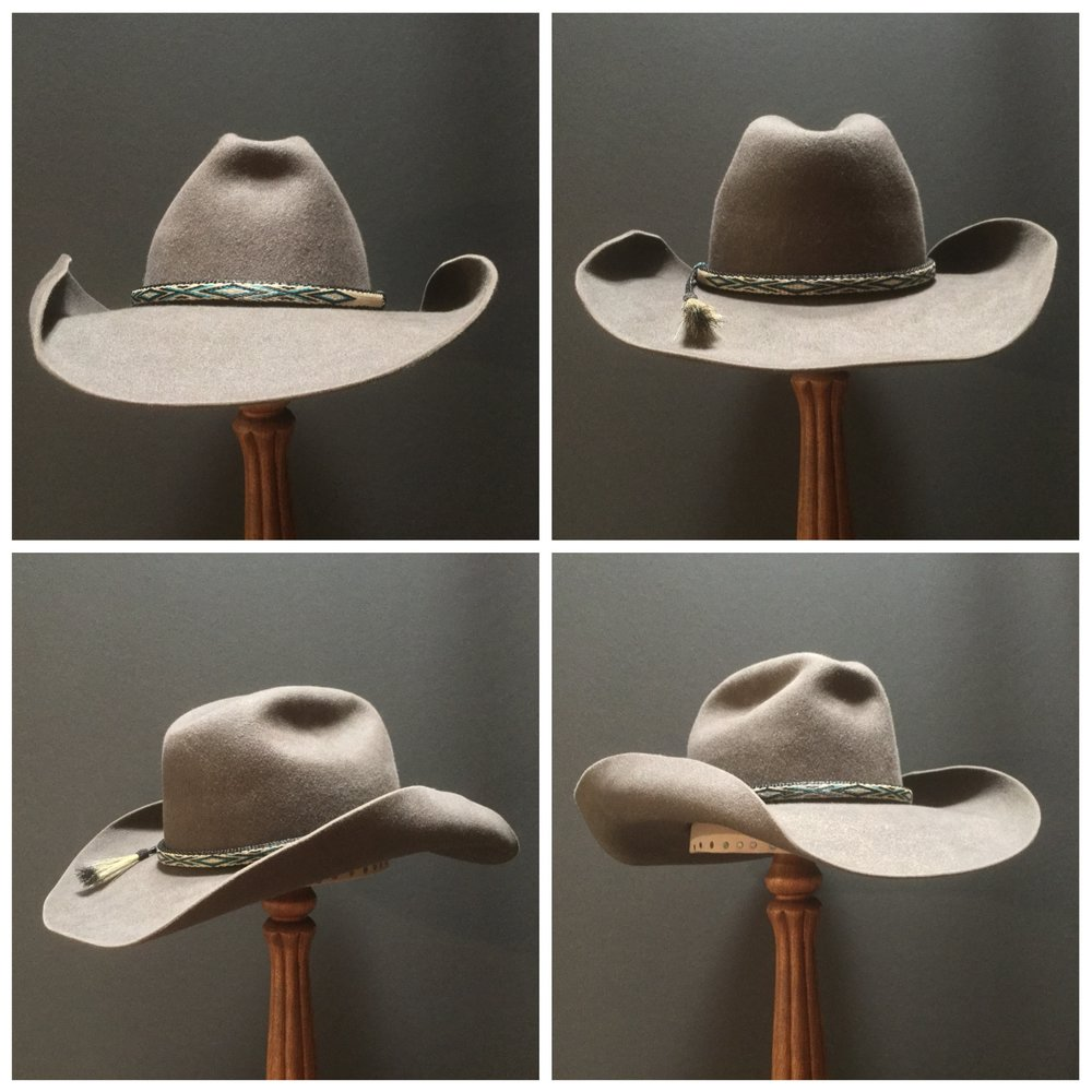 Material: 100% Beaver Color: Natural Brim Set: Vogue with Rugged Temple Curl Trim: Hitched Horsehair