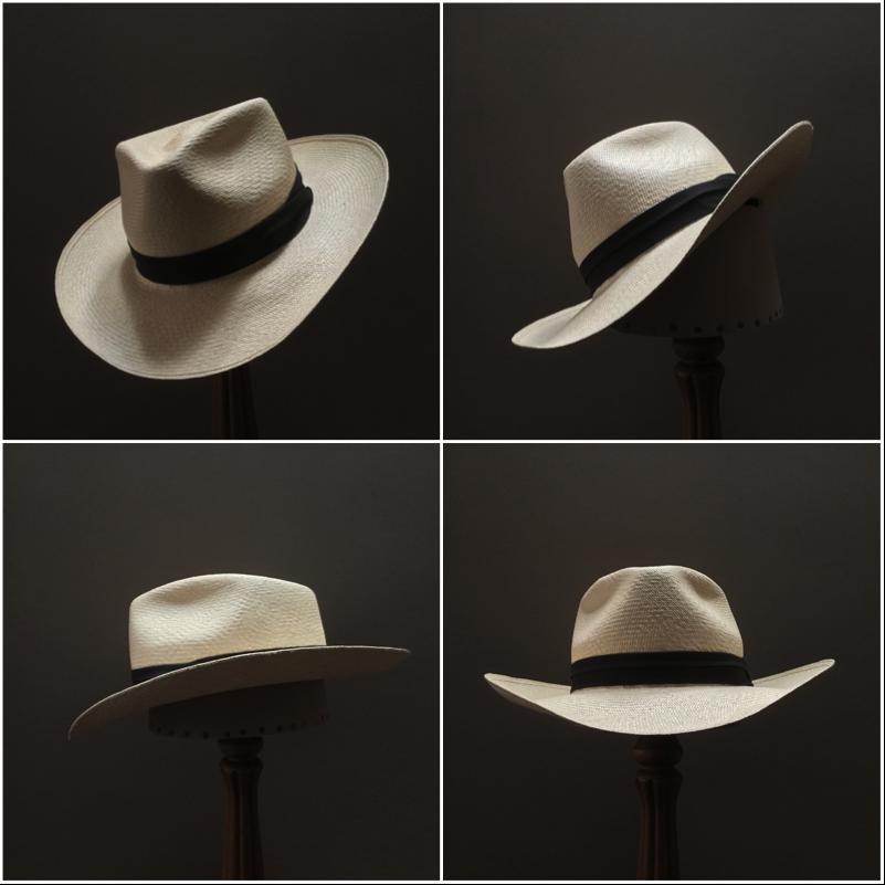 Weave: Cuenca Grade: 10 Brim Set: Round Up, S-D Medium Trim: Cotton Puggaree