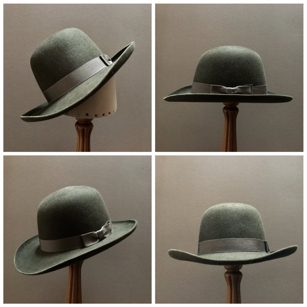 Material: 100% Beaver Color: Dark Moss Brim Set: Round Up, 90 Degree Brim Curl Trim: 1 1/8 inch Grosgrain Ribbon with Pleated Double Back Bow