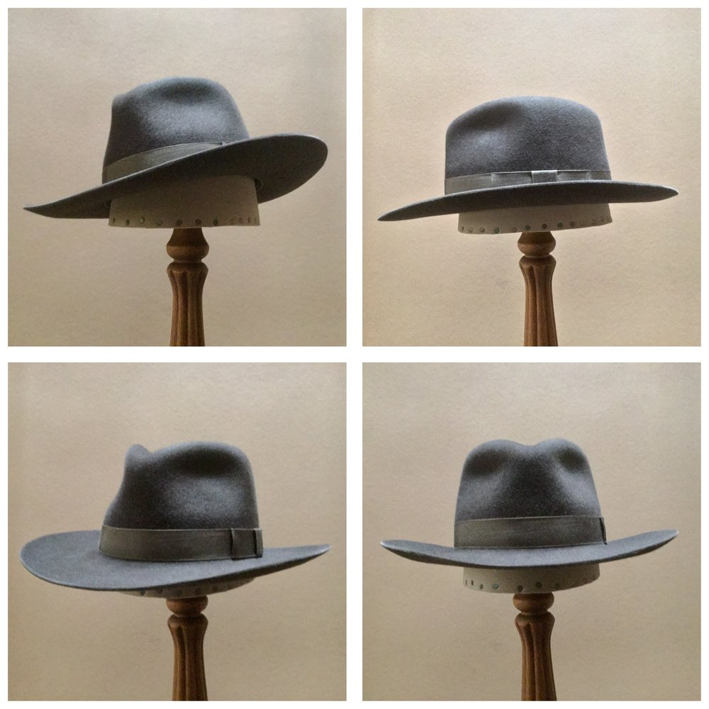Material: 100% Beaver Color: Steele Brim Set: #23 Trim: 1 inch Grosgrain Ribbon with Flat Bow