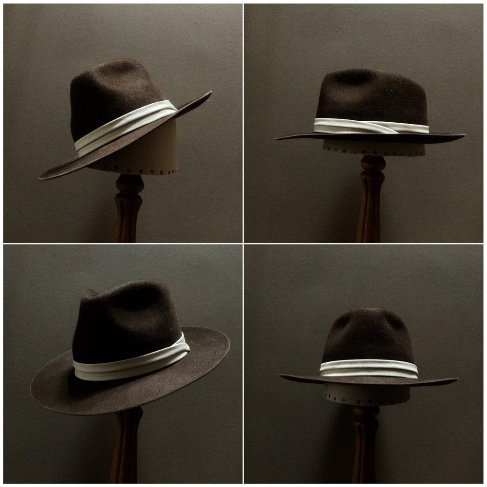 Material: 100% Beaver Color: Chocolate Brim Set: #17 Trim: Puggaree