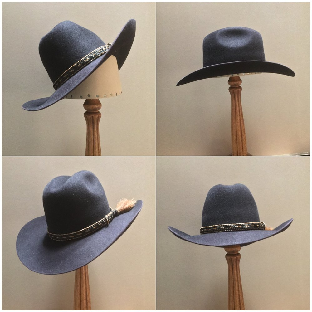 Material: 100% Beaver Color: Black Cherry Brim Set: Westin Trim: Braided Horsehair