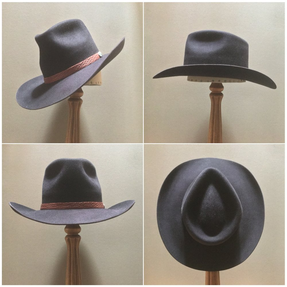Material: 100% Beaver Color: Black Cherry Brim Set: Westin Trim: Leather with sterling silver concha