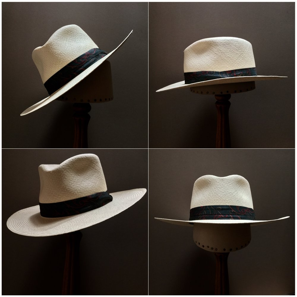 Weave: Cuenca Grade: 12/14 Brim Set: #23 Trim: Patterned puggaree