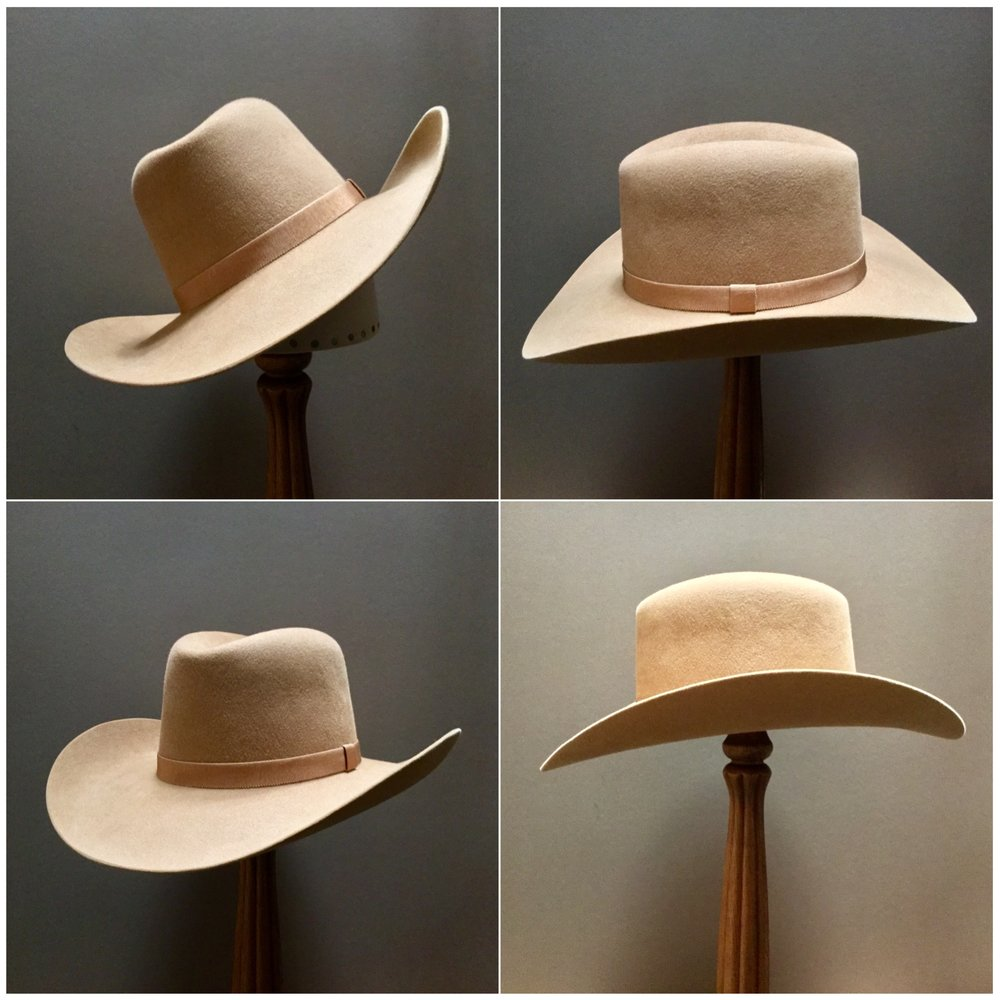 Material: 50% beaver/ 50% wild hare Color: Camel Open Block: N/A Brim Set/Width: Westen/ 3 3/4 inches Trim: Grosgrain ribbon with folded keeper