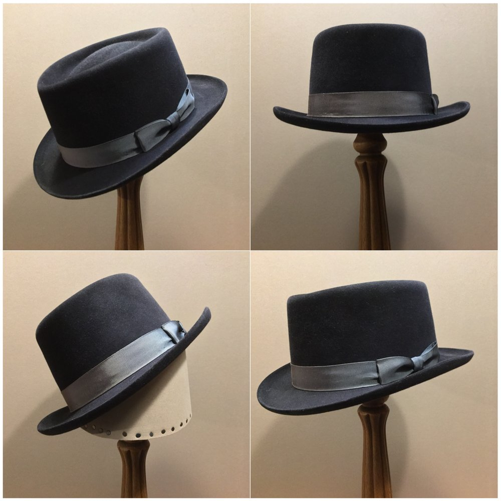 Material: 50% Wild Hare, 50% Beaver Color: Black Open Block: CDR Brim Set/ Width: Richie, 45 degree pencil curl/ 1 15/16 inches Trim: 1 inch grosgrain ribbon with pleated bow