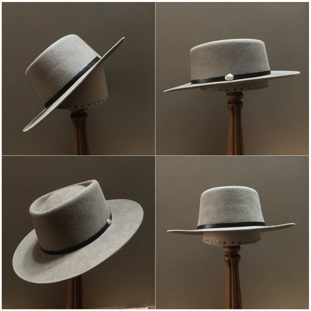 Material: 100% Beaver Color: Natural Brim Set/Width: San Ann/ 3 7/8 inches Trim: Leather with sterling silver concha
