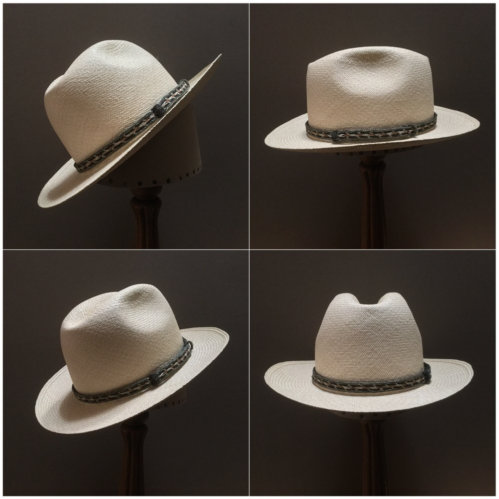 Weave: Cuenca Grade: 10 Open Block: CH Brim Set/Width: Round Up/ 2 1/2 inches Trim: Braided horsehair
