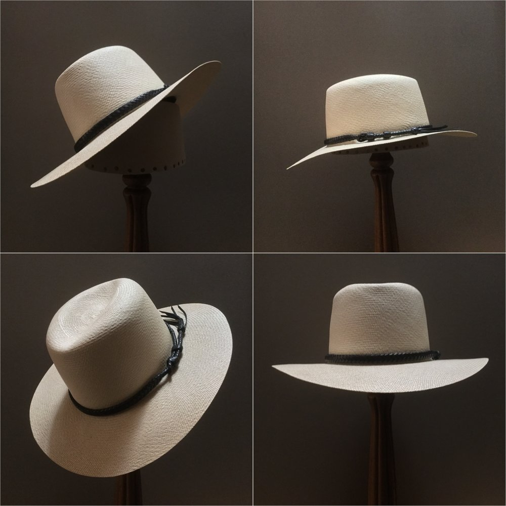 Weave: Cuenca Grade: 12 Open Block: Ivy Brim Set/Width: San Ann/ 3 1/4 inches Trim: Braided leather