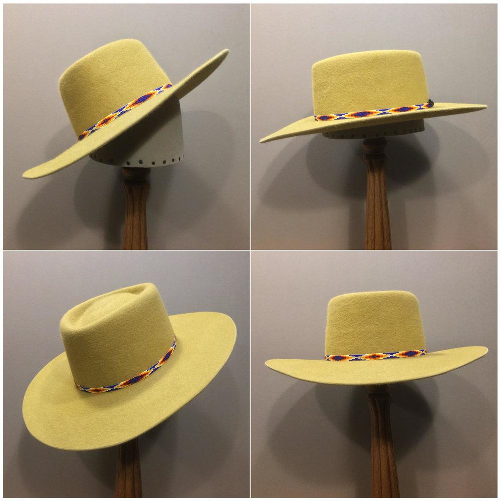 Material: 100% Rabbit Color: Gold Open Block: CH Brim Set: San Ann Trim: Beaded band