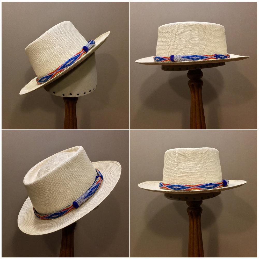 Weave: Cuenca Grade: 10 Open Block: Pledge Brim Set/ Width: Richie/ 2 1/4 inches Trim: Hitched horsehair