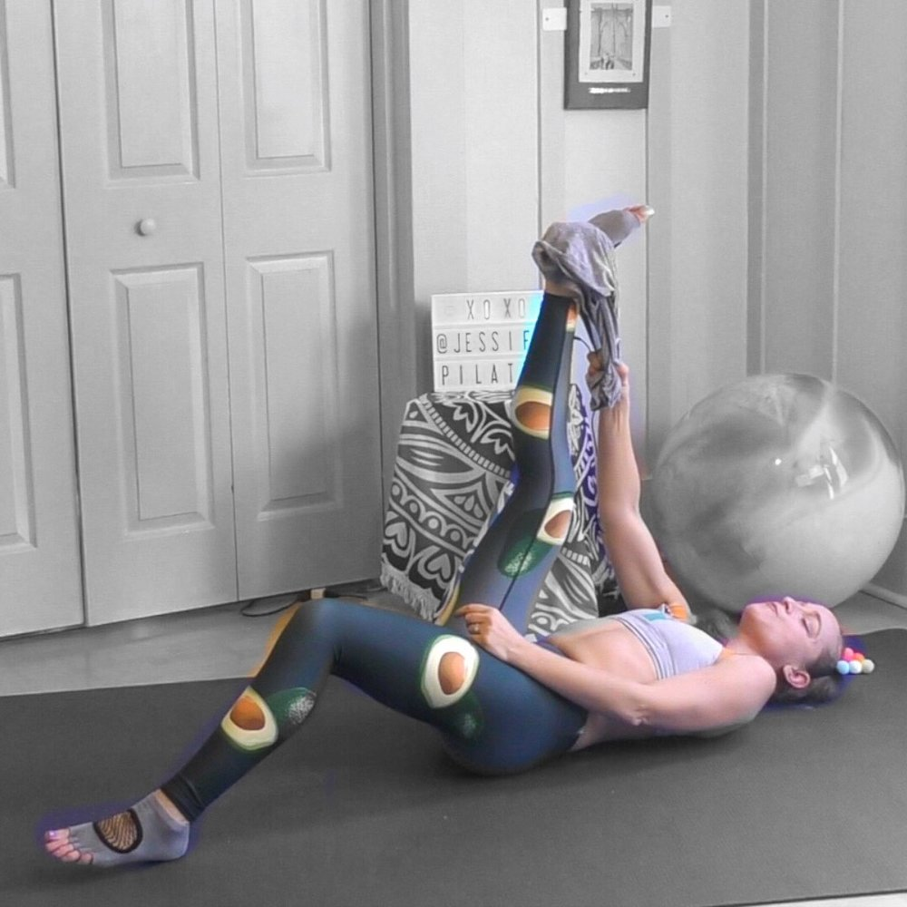 lying hamstring stretch jessi fit pilates