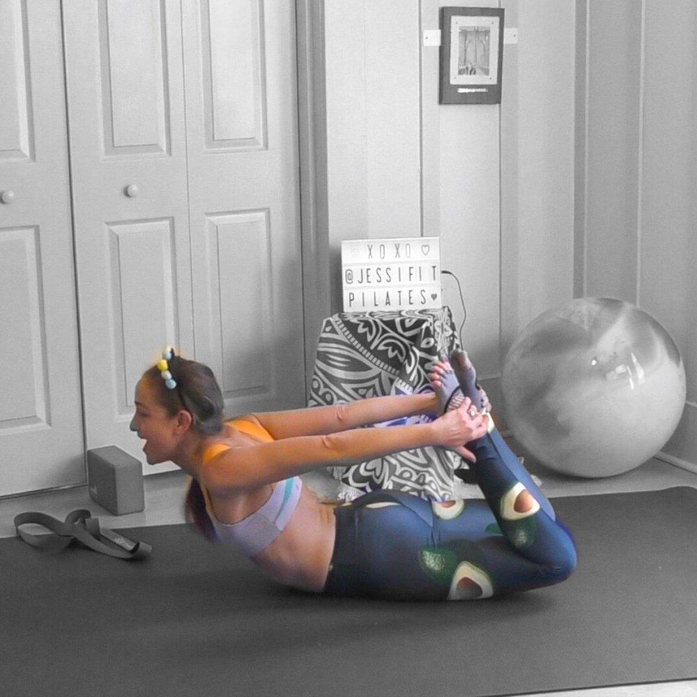 bow pose rocking pilates jessi fit pilates