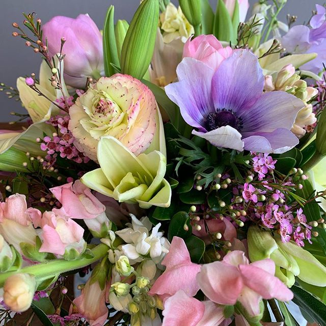 Flowers don't make grieving go by faster but at least it's something pretty to stare at while you cry. I read every message and try to create something that matches the sentiment. . . . . #dcflorist #sympathyflowers #funeralflowers #springblooms #anemone #ranunculus #snapdragon #tulip #acreativedc #madeindc #localflowers #americangrownflowers
