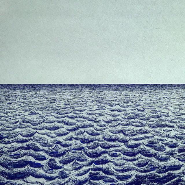 Ballpoint sketching 🌊✍🏼 _________  #sketch #ocean #pen #design #drawing #paper #blue #sea #illustration #doodle #sketchdaily #sketchbook #art #artist #beach #water #waves #endless #navy #blue #realism #shading #hues #atlanticocean