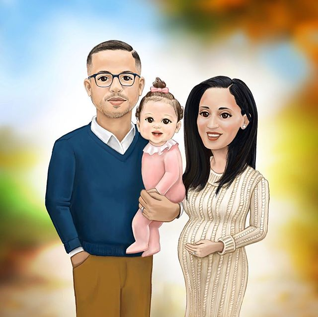 Family Portrait, 2017 👨🏻👩🏻👧🏻👶🏻 Excited and blessed to share that we're expecting baby # 2!! . . . . #art #artdaily #portrait #familyportrait #illustration #artist #babyannouncement #painting #drawing #sketch #design #procreateapp #sketchdaily #digitalart #realism #caricature #graphicdesigner #illustrator #baby #pregnant