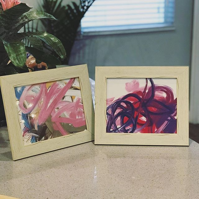 Isla, my 1-yr old, painted these the other day. So naturally I framed them for our home. Can you blame me? 🤷🏻‍♂️😁🎨👧🏻 -  #prouddad #art #artdaily #abstractart #painting #sketch #fingerpaint #artist #illustration #drawing #painter #kidart #gallery #colorsplash #creative #orlandoartist #create #artlife