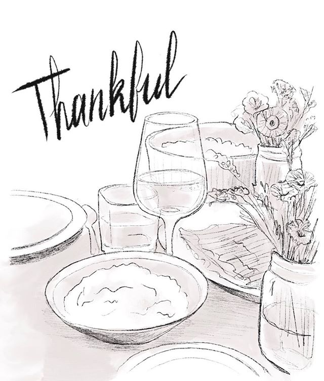 Thanksgiving sketch 2018. This is our first year hosting in our very own house. I'm thankful that we were able to do that. But what I'm most thankful for is my family.  Cheers to traditions, and the start of the Holiday season! 🥂  #🦃🍁🎨 #sketch #thanksgiving #cheers #drawing #art #design #script #handlettering #pencil # procreate #food #thankful #illustration #sketchdaily #artist #table #wine #plate