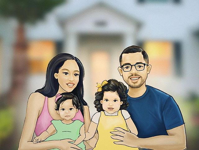 Finally getting around to posting our family portrait sketch from 2018, lol. Still a work in progress, but I think I got the girls to look like themselves. I tried to change up the illustration style a bit. Love that these paintings are turning into a series- this one is # 4. 🎨  #portrait #painting #procreate #familyphoto #sketch #illustration #Portraiture #art #artist #ipad #sketching #digitalpainting