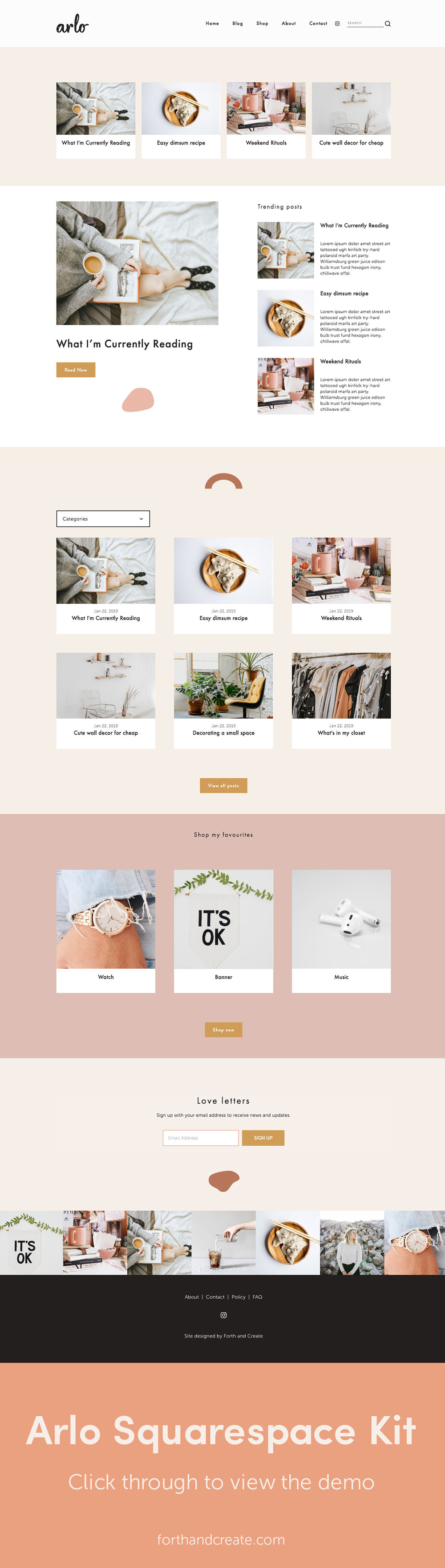 Arlo Squarespace kit comes with instructional videos to help get your beautiful website up and running in no time. The Arlo Squarespace kit is perfect for bloggers. Click through to view the demo. #Squarespace #Squarespacekit #Squarespacetemplate #Websitedesign #blogger