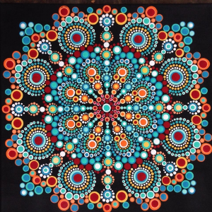 "In an advanced workshop, participants can work on a 12"" by 12"" canvas mandala design."