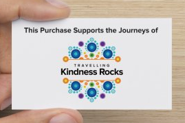 Each Travelling Kindness Rocks purchase is accompanied with this card and includes social media and website information on the back.